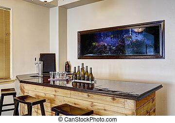 aquarium., interieur, bar, luxehuis