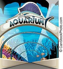Aquarium scene with lives underwater illustration