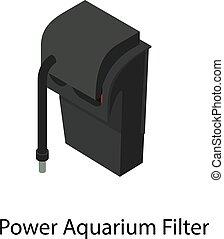 aquarium, style, puissance, isométrique, icône, filtre