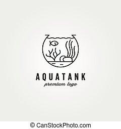 aquarium tank logo vector symbol illustration design, nature biota logo design