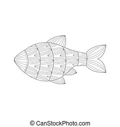 Coloring Book Page Template With Tropical Fish And Plants Color Samples Vector Illustraton