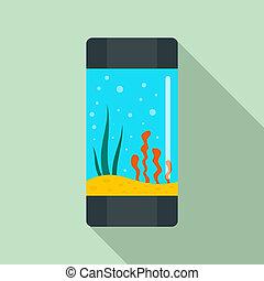 Aquarium tube icon, flat style