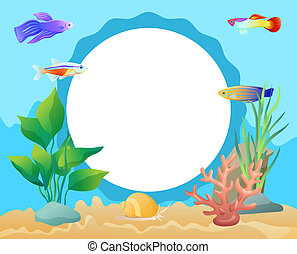 Aquarium Underwater Elements Circle Frame for Text