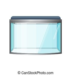 Aquarium vector isolated on white. Fish tank, front view....