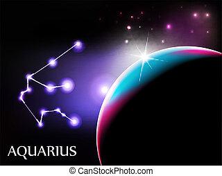 Aquarius Astrological Sign and copy space - Aquarius - Space...