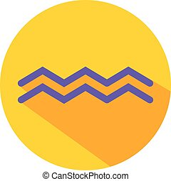 Aquarius. Classic Astrological Zodiac Sign. Vector icon in Flat Style with Long Shadow