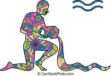 Aquarius - vector illustration of Aquarius zodiac sign