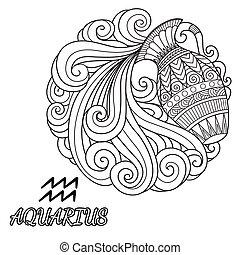 Aquarius - Line art design of Aquarius zodiac sign for...