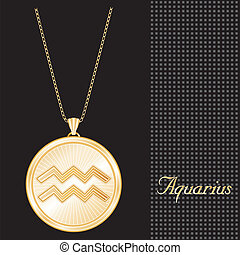 Aquarius Gold Pendant Necklace - Gold engraved horoscope...