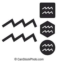 Aquarius icon set, monochrome