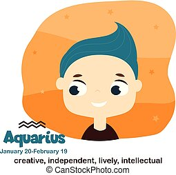 Aquarius. Kids zodiac. Children horoscope sign. Astrological symbols with cute baby face in cartoon style