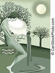 Aquarius person pouring water