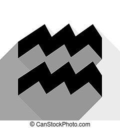 Aquarius sign illustration. Vector. Black icon with two flat gray shadows on white background.