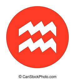 Aquarius sign illustration. White icon on red circle.