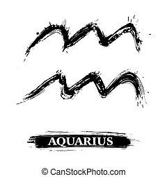 Aquarius symbol - Zodiac sign Aquarius created in grunge...