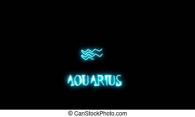 aquarius text saber effect and zodiac symbol is slowing appear