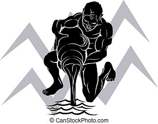Illustration of Aquarius the water bearer or carrier zodiac horoscope astrology sign