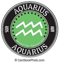 Aquarius zodiac label - Aquarius zodiac astrology label...
