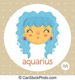 Aquarius zodiac sign, aquatic girl