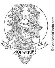 Aquarius zodiac sign coloring book vector - Aquarius zodiac...