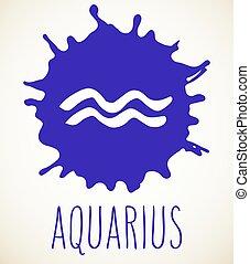 Aquarius Zodiac sign design element