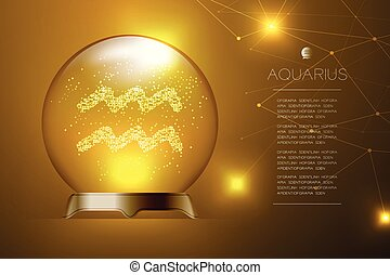 Aquarius Zodiac sign in Magic glass ball, Fortune teller concept design illustration on gold gradient background with copy space, vector eps 10