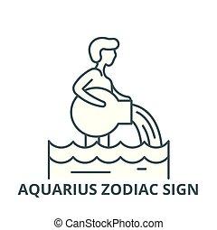 Aquarius zodiac sign vector line icon, linear concept, outline sign, symbol