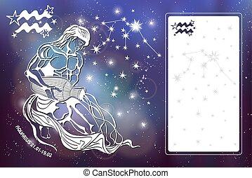 Aquarius Zodiac sign.Horoscope.Blurred space.Template -...