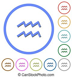 aquarius zodiac symbol icons with shadows and outlines