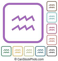 aquarius zodiac symbol simple icons