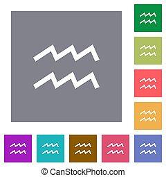 aquarius zodiac symbol square flat icons