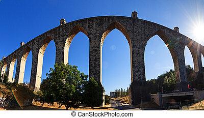Aquas Livres Aquaduct - Beautiful wide angle panorama of the...