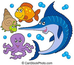 Aquatic animals collection 3 - isolated illustration.