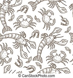 Aquatic animals, raw seafood shrimps and crabs seamless pattern