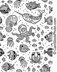 Aquatic animals seamless pattern for children coloring book. Vector illustration