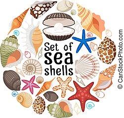 Aquatic badge with sea pearl shells