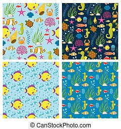 Aquatic funny sea animals underwater creatures cartoon characters shell aquarium sealife seamless pattern background vector illustration.