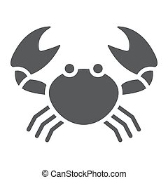 aquatique, 10., animal, sous-marin, solide, modèle, eps, signe, icône, vecteur, crabe, graphiques, fond blanc, glyph
