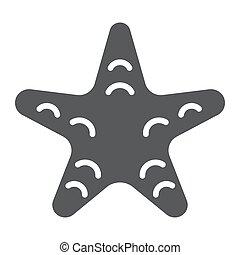 aquatique, 10., etoile mer, sous-marin, solide, modèle, eps, signe, icône, vecteur, animal, graphiques, fond blanc, glyph
