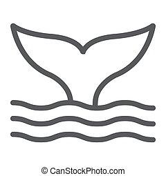 aquatique, 10., linéaire, sous-marin, modèle, ligne, eps, signe, icône, queue, vecteur, animal, graphiques, baleine blanche, fond