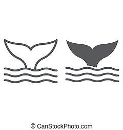aquatique, 10., linéaire, sous-marin, modèle, ligne, eps, signe, icône, queue, vecteur, animal, graphiques, baleine blanche, fond, glyph