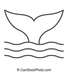 aquatique, 10., linéaire, sous-marin, modèle, ligne, eps, signe, icône, queue, vecteur, mince, animal, graphiques, baleine blanche, fond