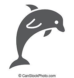 aquatique, 10., sous-marin, solide, modèle, dauphin, eps, signe, icône, vecteur, animal, graphiques, fond blanc, glyph