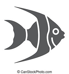 aquatique, 10., sous-marin, solide, modèle, fish, eps, signe, exotique, icône, vecteur, animal, graphiques, fond blanc, glyph