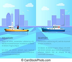 Aquatory and Seaport Promo Posters with Vessels