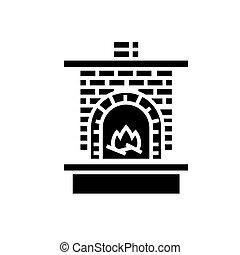 aquecedor, ilustração, fogo, -, isolado, sinal, vetorial, experiência preta, ícone, alvenaria, lareira, tijolo, chaminé