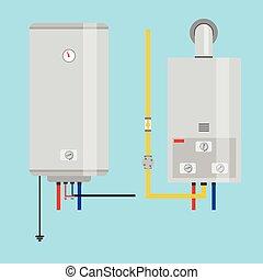 aquecedor, jogo, elétrico, apartamento, gás, água, heater.,...