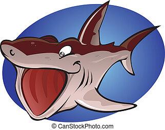 aquecendo tubarão, caricatura