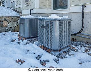 aquecimento, e, ar condicionado, lar, unidades, em, a, neve