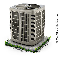 aquecimento, e, condicionador ar, unidade, ligado, a, levantar